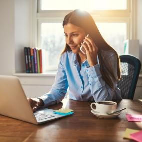 Women checking her business finances